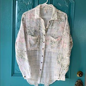 Free People cotton gauze floral blouse